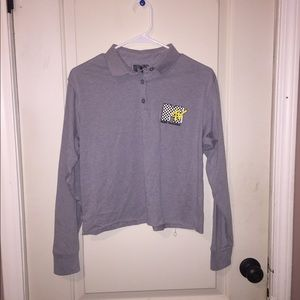 MTV Long Sleeved Crop Top, Collared!!